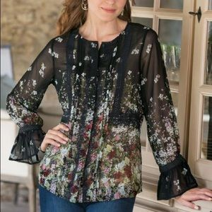 Without tags soft surroundings Harriet blouse L